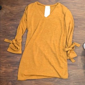 Mustard Sweater Dress with Tie Sleeves - NWT - Sm